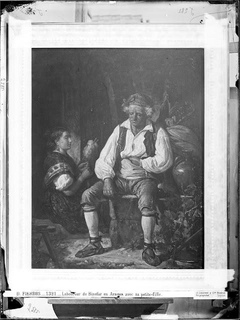Fotografía Labrador de Binefar en Aragón, con su nieta | Laurent, J. (1816-1886)