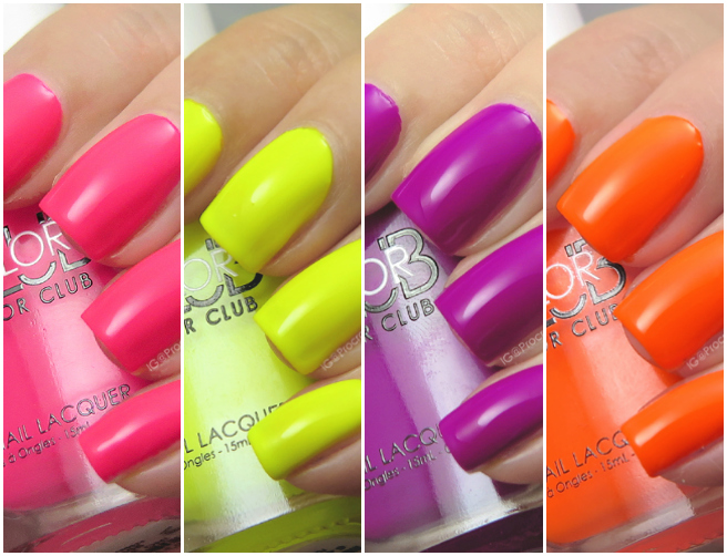 Swatches of some Color Club Poptastic Neon Shades at Trade Secrets