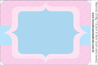 Rosado y Celeste: Etiquetas para Candy Bar para Imprimir Gratis.