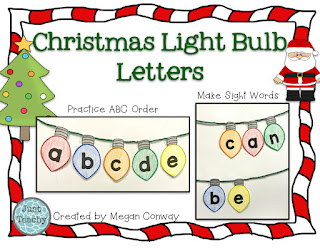 Christmas Light Bulb Letters, Practice abc order and build sight words