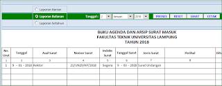 Aplikasi Excel Agenda dan Arsip Surat versi 2
