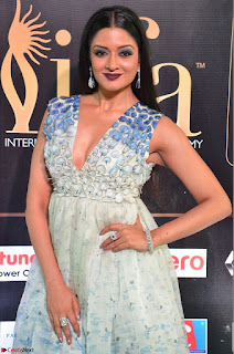 Vimala Raman in a Deep Neck White Shaded Sleeveless Gown ~  Exclusive 43.JPG