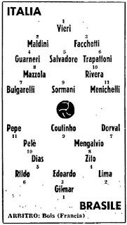 Italia - Brasile 3-0, 12 maggio 1963. Le formazioni in campo. Bulgarelli con un inedito numero 7.