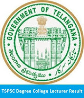 TSPSC Degree College Lecturer Result