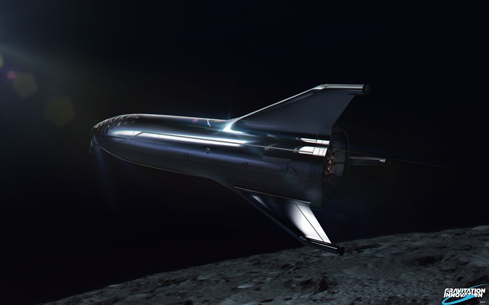 SpaceX #dearMoon Starship orbiting the Moon by Gravitation Innovation