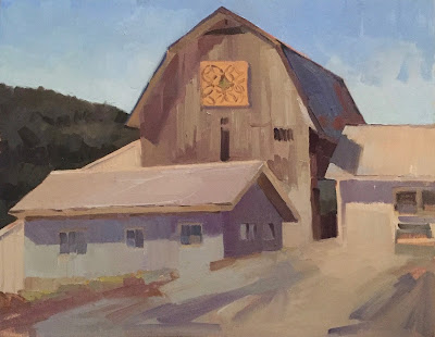 white barn oil painting plein air by sarah sedwick