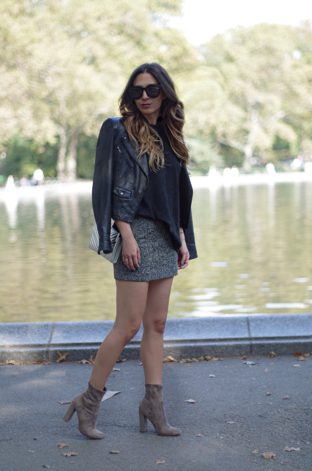 oversized sweater mini skirt booties