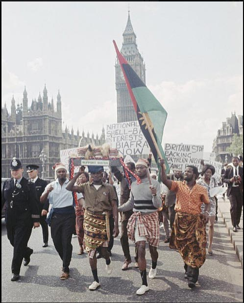See epic throwback picture of Biafran protesters in London during the Nigerian Civil War