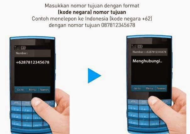 Gunakan kode negara Indonesia yaitu +62 untuk menelepon ke tanah air.