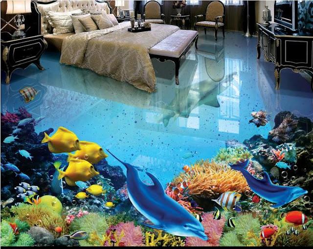 underwater life 3d floor designs with animals, 3d floor designs for bedroom