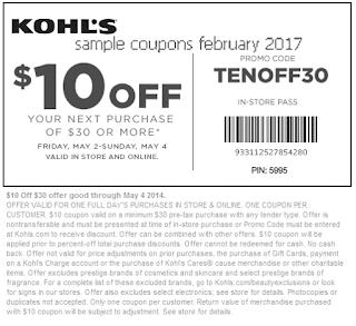 Kohls coupons february 2017