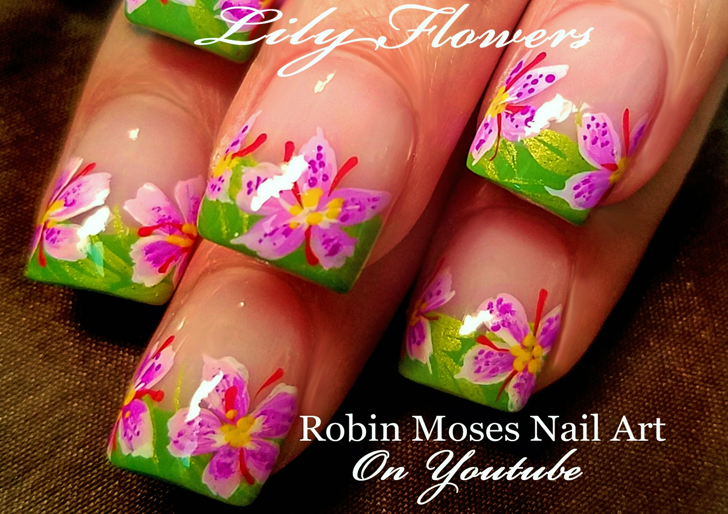 Nail Art By Robin Moses Lily Flower Nail Art Design Tutorial Lily