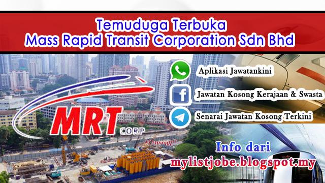 Jawatan Kosong di Mass Rapid Transit Corporation Sdn Bhd