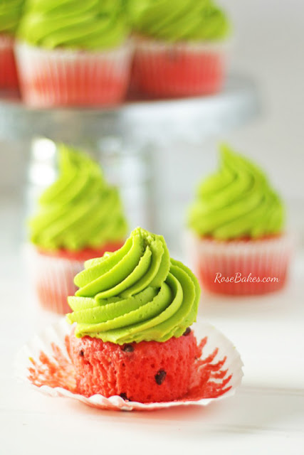 National Picnic Month - Watermelon Cupcakes