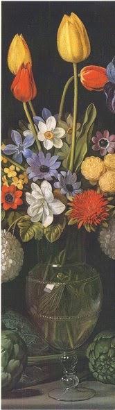 Bodegón con alcachofas, flores y recipientes de vidrio (Juan van der Hamen)