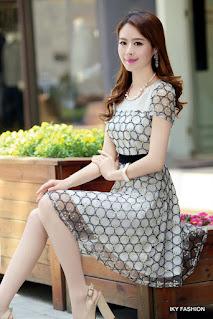 model Dress Pendek Polkadot cewek kekinian