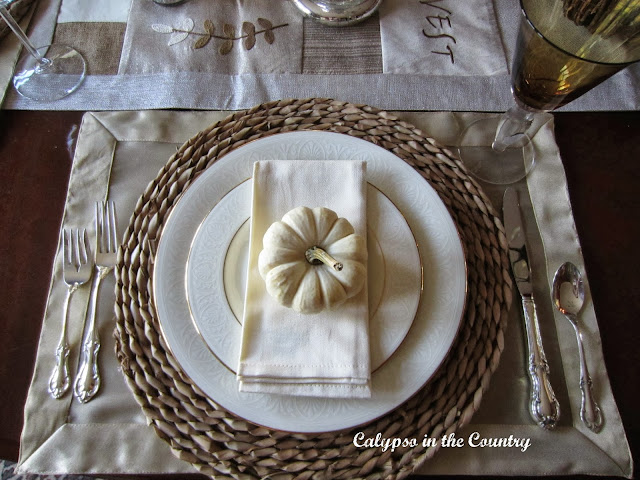 Fall Table Setting with White Pumpkins - Neutrals and textures mixed with the good china