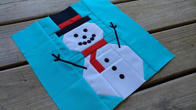 Snowman quilt block for Christmas Quilt Along