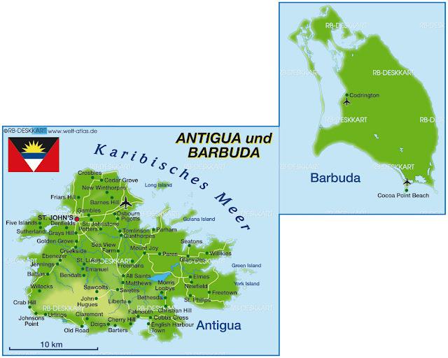 Antigua dhe Barbuda - Hartat gjeografike e Antigua dhe Barbuda