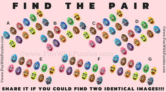 It is Picture Riddle in which one has to find the matching Pair of Easter Eggs Images