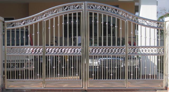 cổng inox 4 cánh đẹp - mẫu 8