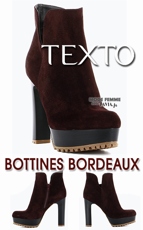 Bottines hautes bordeaux Texto