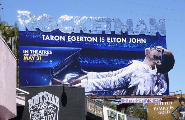 Rocketman glittering logo billboard