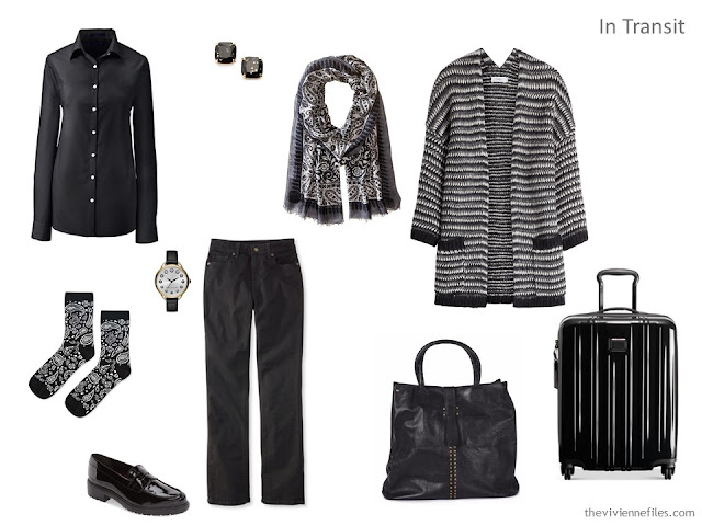 a black and white travel outfit