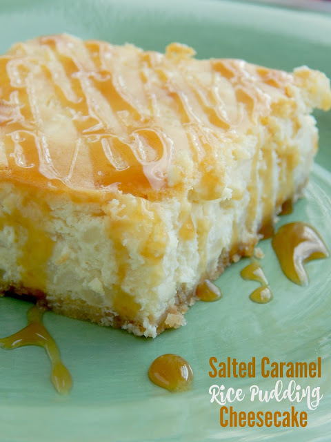 Salted Caramel Rice Pudding Cheesecake...two wonderful desserts put into one!  Creamy, salty and full of caramel flavor! (sweetandsavoryfood.com)
