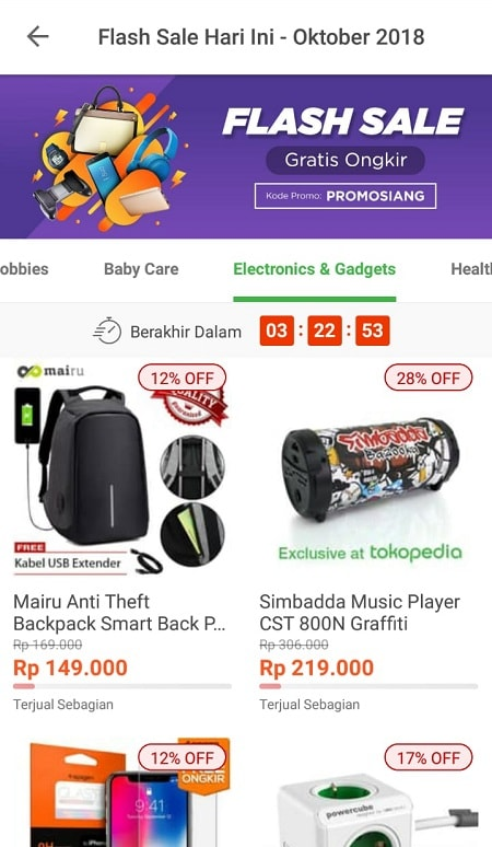 Halaman Flash Sale Tokopedia
