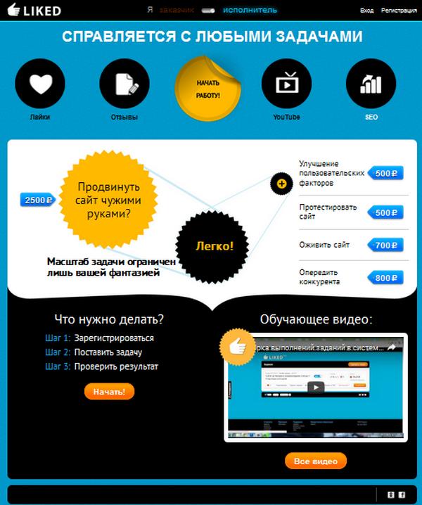 Liked.ru - сайт для заработка и рекламы