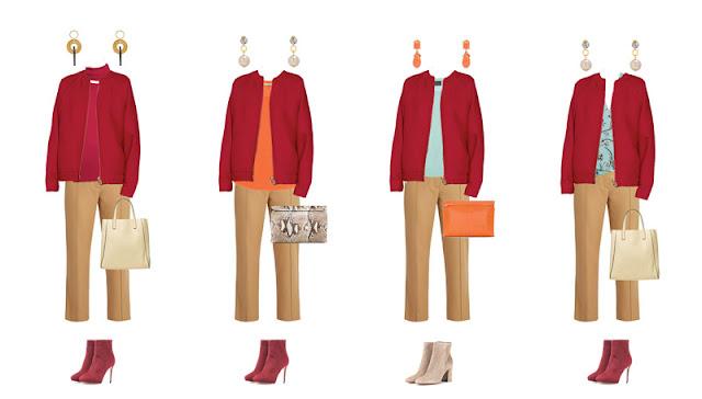 Комплекты капсульного гардероба баклажанный, ягодный, оранжевый, голубой, camel