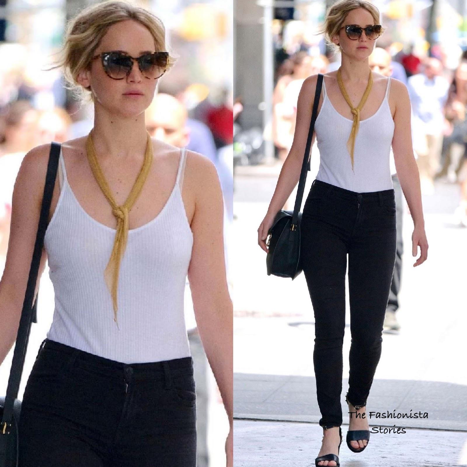 1c8f328fe Jennifer Lawrence in Elsa Peretti & Linda Farrow Accessories Out in New York