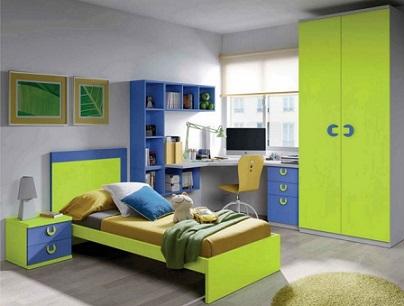 Habitación juvenil en verde y azul - Dormitorios colores y estilos