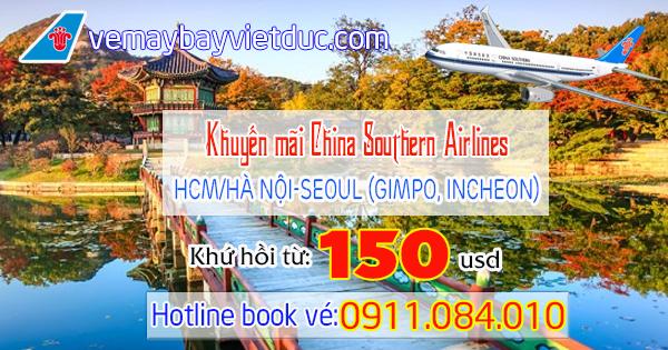 mua vé khuyến mãi China Southern Airlines đi Seoul