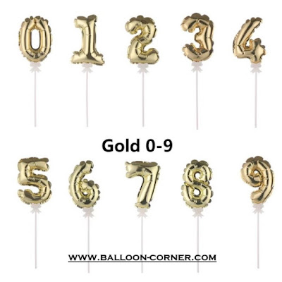 Mini Number Gold Foil Balloon Cake Topper