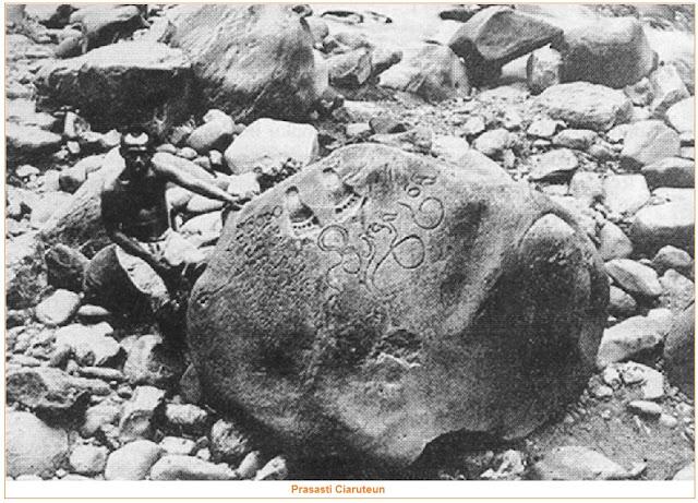 Isi dan Gambar Prasasti Ciaruteun - tujuh prasasti kerajaan tarumanegara