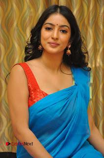 Telugu Actress Vaibhavi Stills in Blue Saree at Www.Meena Bazaar Movie Opening  0086.JPG