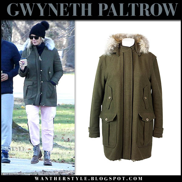 783a51ac5400b Gwyneth Paltrow in khaki green wool fay parka celebrity winter outerwear  style november 2018
