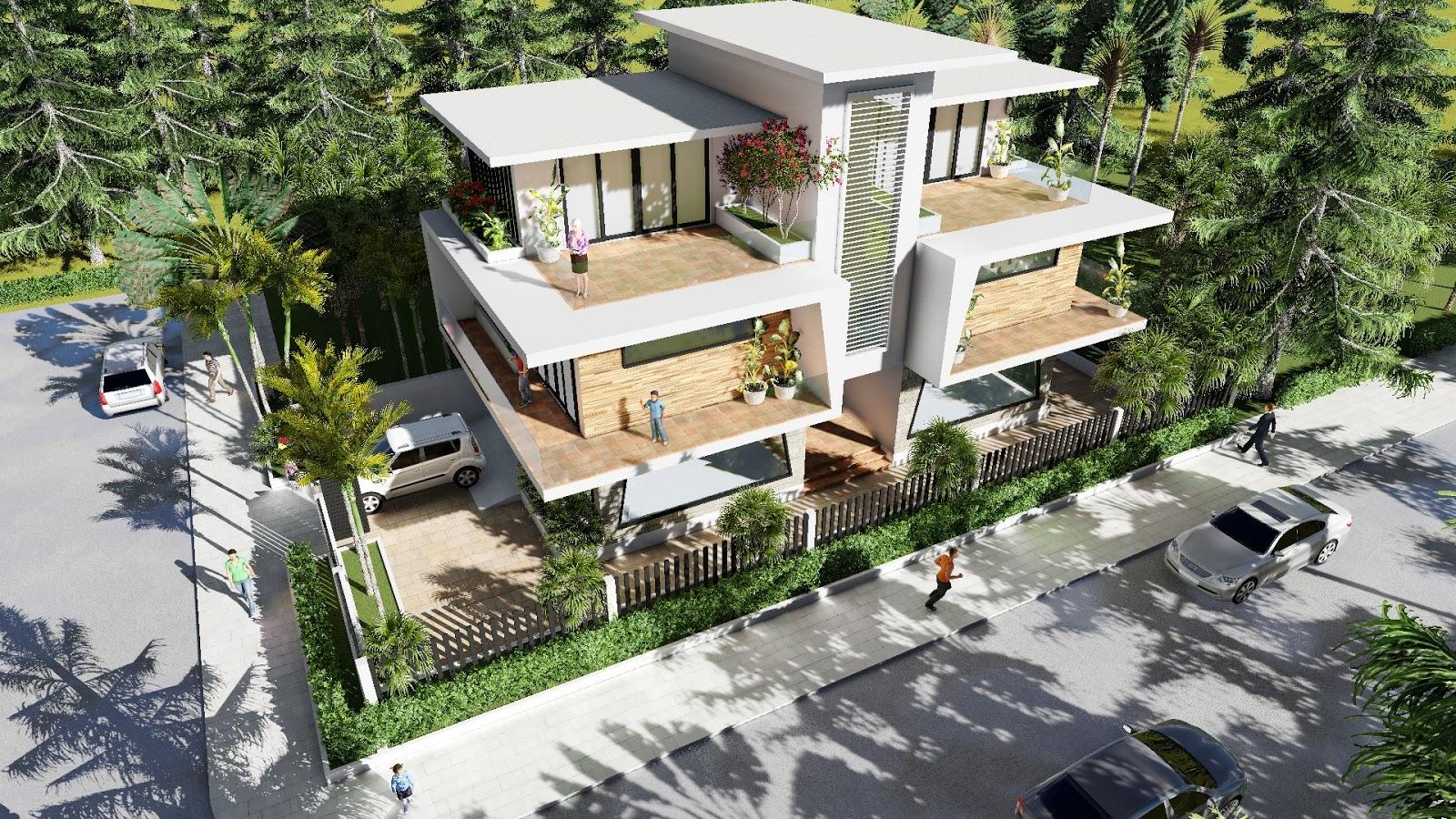 Sketchup modeling modern vila design 06 lumion render - Modern vila design ...