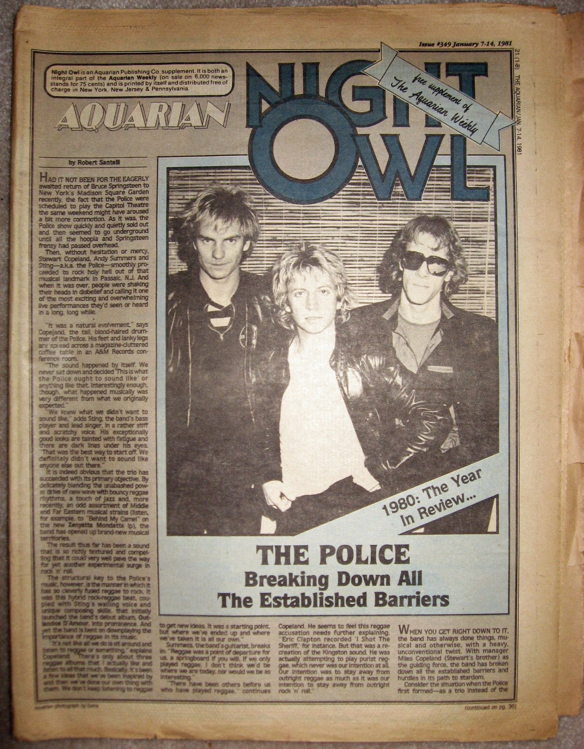 My copy of the Aquarian Night Owl rock mag January 1981