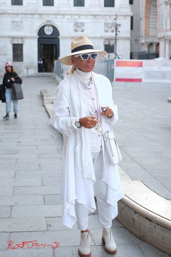 Autumn Fashion, White on White on White - Crossing Piazza San Marco in Style - Photo by Kent Johnson for Street Fashion Sydney.
