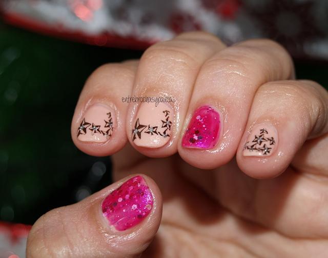 manicura glitter estrellas