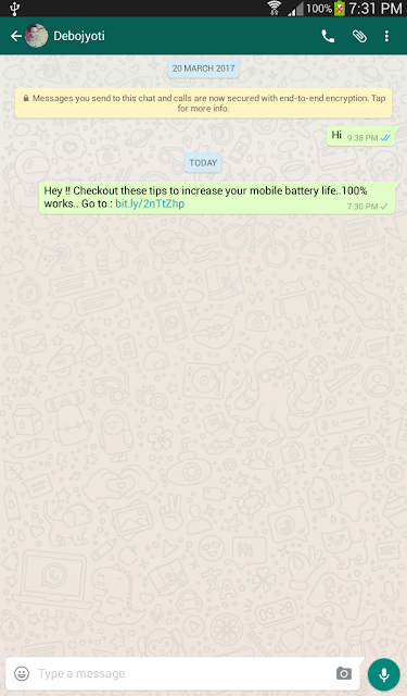 how to send shortlinks in whatsapp