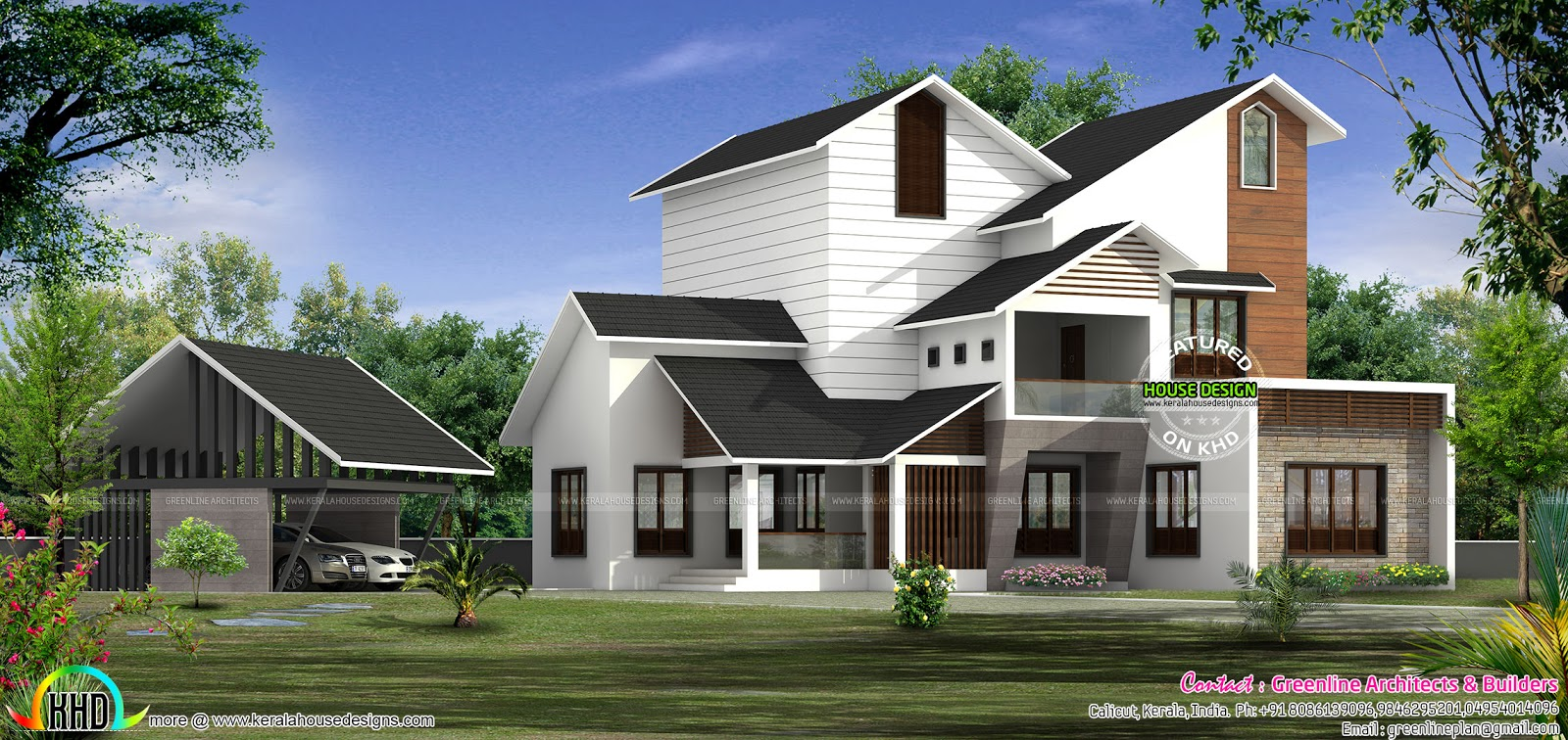 Modern mix sloped roof house plan Kerala home design and floor plans