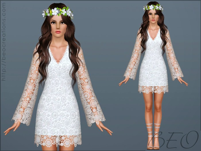 My Sims 3 Blog: Bohemian Wedding Dress By BEO