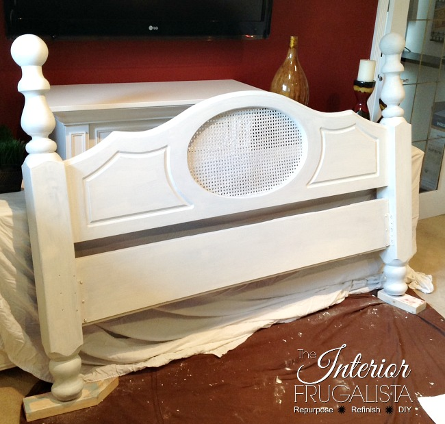 Newel Post Headboard Chalk Painted White