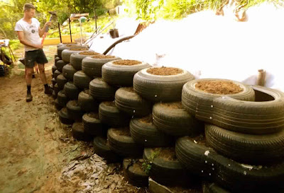 Earthship Construction Tyre Wall