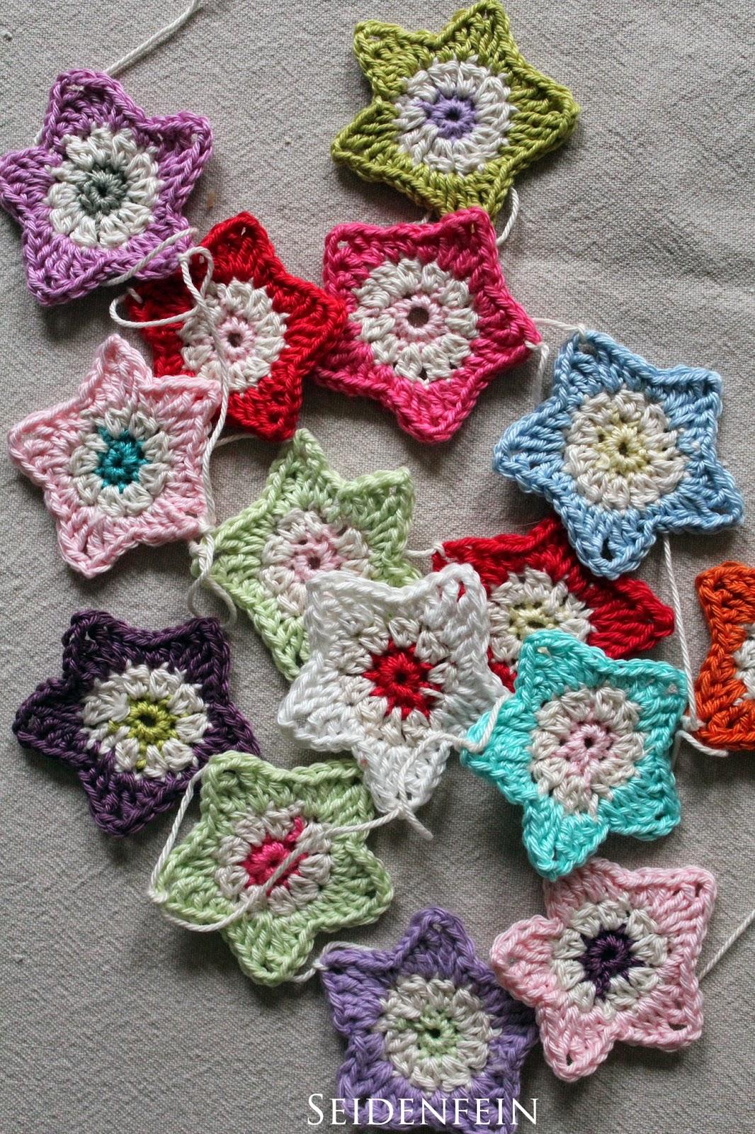 seidenfeins blog vom sch nen landleben 16 sternchengirlande diy crochet a star garland. Black Bedroom Furniture Sets. Home Design Ideas