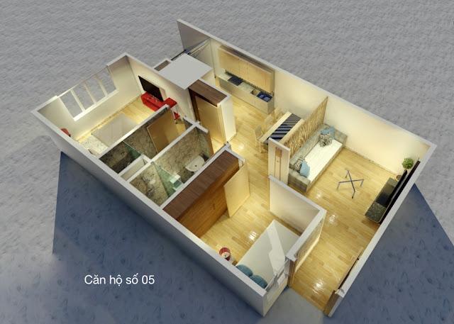 Thiết kế căn hộ 05 chung cư tháp doanh nhân